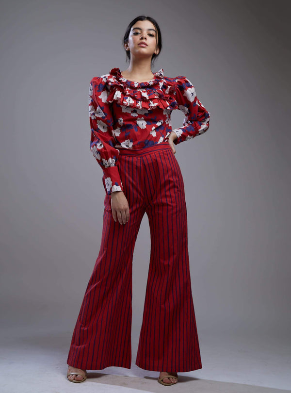 Koai-Red & White Floral Frill Collar Shirt With Pants-INDIASPOPUP.COM