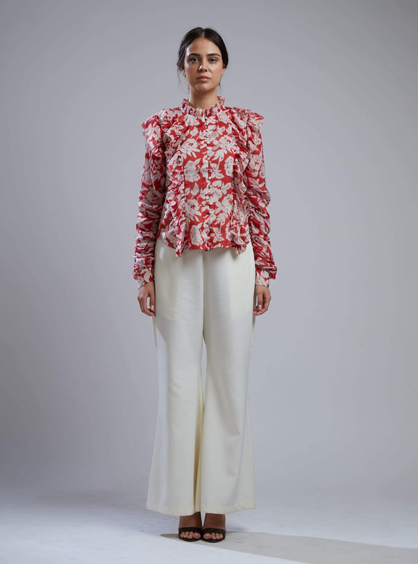 Koai-Red & White Floral Frill Shirt With Pants-INDIASPOPUP.COM