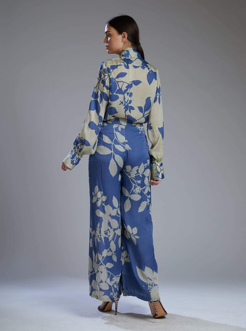 Koai-Beige & Blue Flower Bow Shirt With Pants-INDIASPOPUP.COM