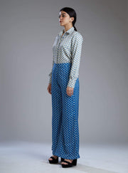 Koai-White & Blue Booti Pants With Blouse-INDIASPOPUP.COM
