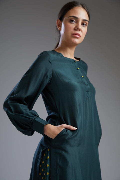 Koai-Dark Green Plain Tunic With Pants-INDIASPOPUP.COM