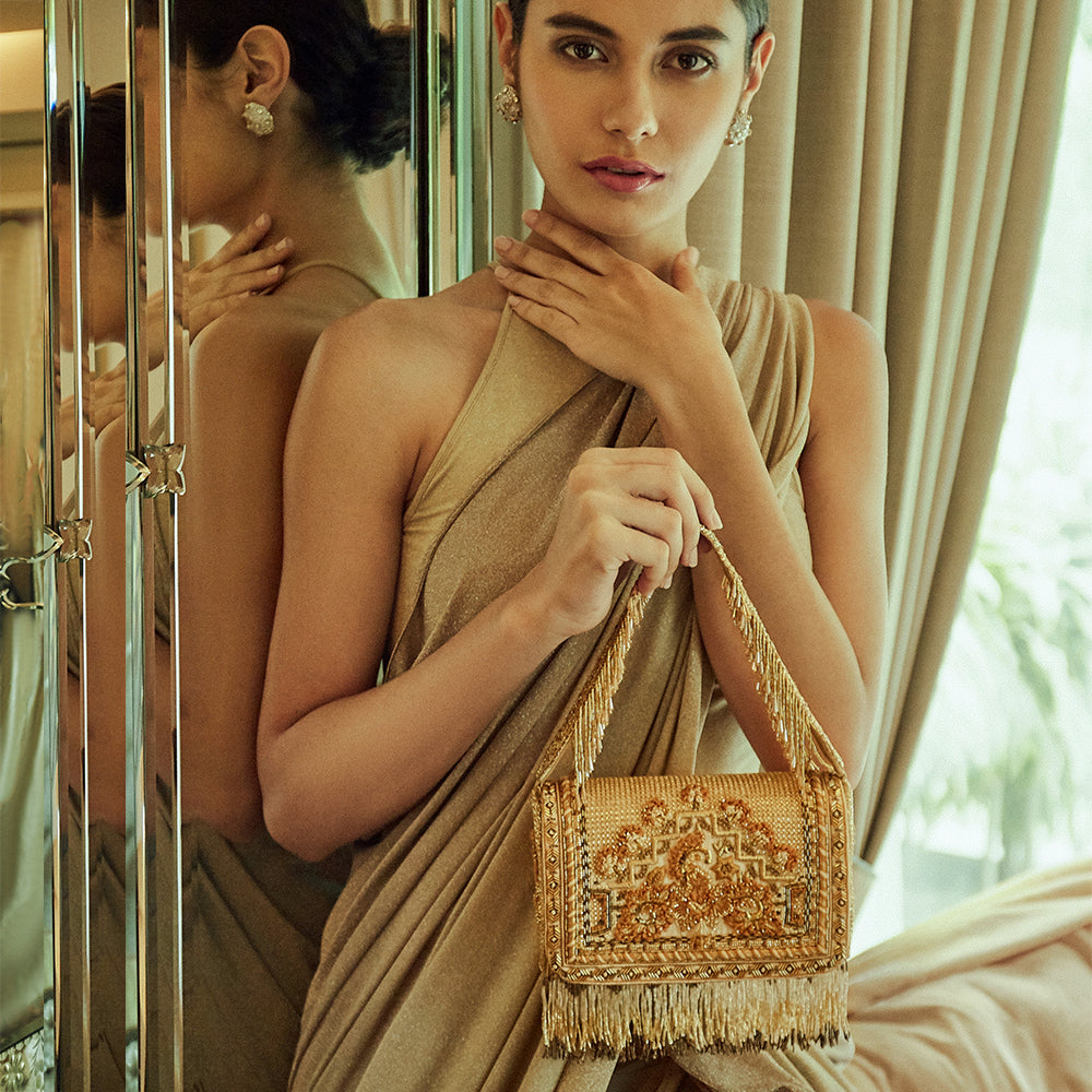 Lovetobag-Gold Couture Flapover Clutch-INDIASPOPUP.COM