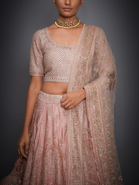 Peach Floral Lehenga With Blouse