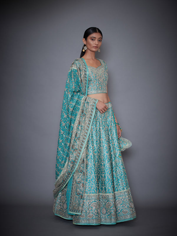 Blue Lehenga With Blouse And Dupatta