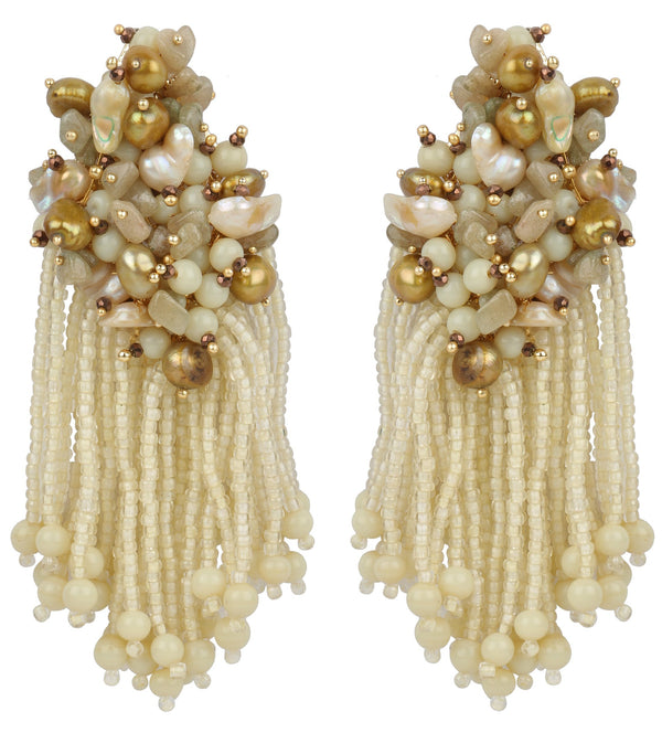 House Of Doro-Olive Baroque Earrings-INDIASPOPUP.COM