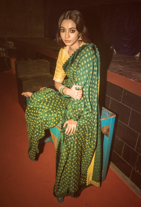 Label Earthen-Emerald & Yellow Saree With Blouse-INDIASPOPUP.COM