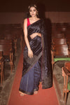 Label Earthen-Navy Blue & Fuschia Saree With Blouse-INDIASPOPUP.COM