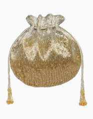 Lovetobag-Gold & Silver Eclat Potli With Handle-INDIASPOPUP.COM