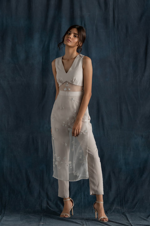 Lavanya Ahuja-Soft Grey Long Tunic & Pants Set-INDIASPOPUP.COM