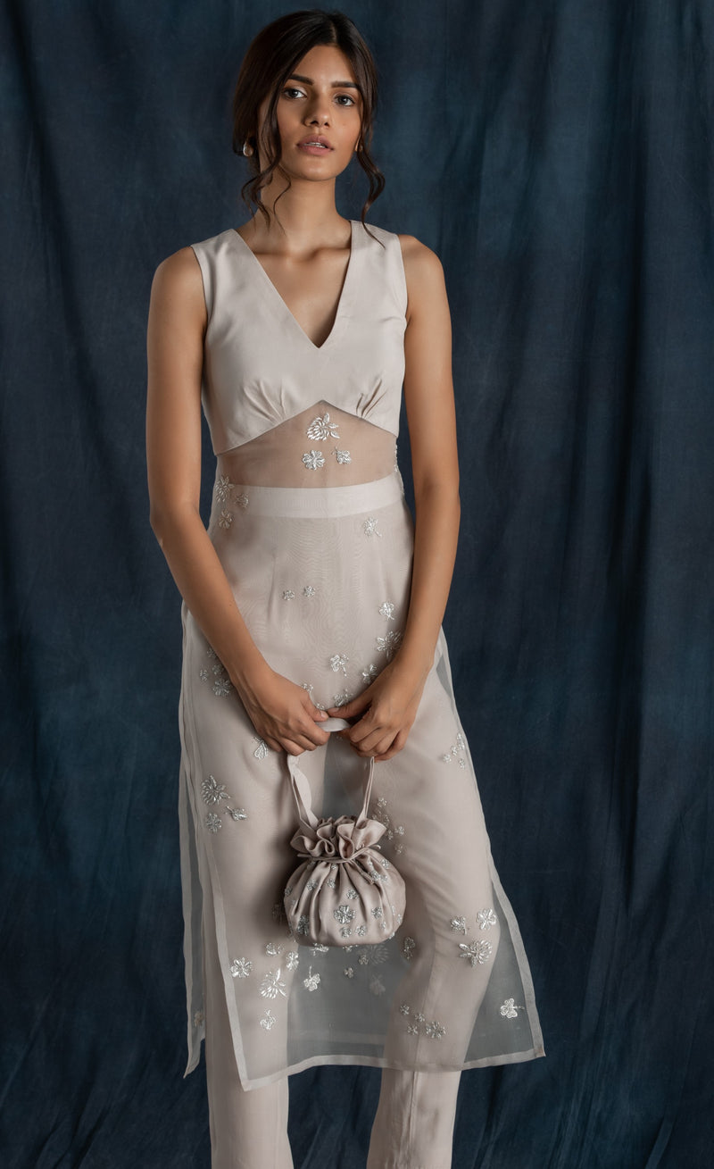 Lavanya Ahuja-Grey Hand Embroidered Satin Drawstring Bag-INDIASPOPUP.COM