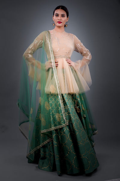 Green Embroidered Lehenga Set With Bustier