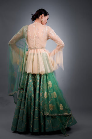 ANJU MODI GREEN EMBROIDERED LEHENGA SET WITH BUSTIER