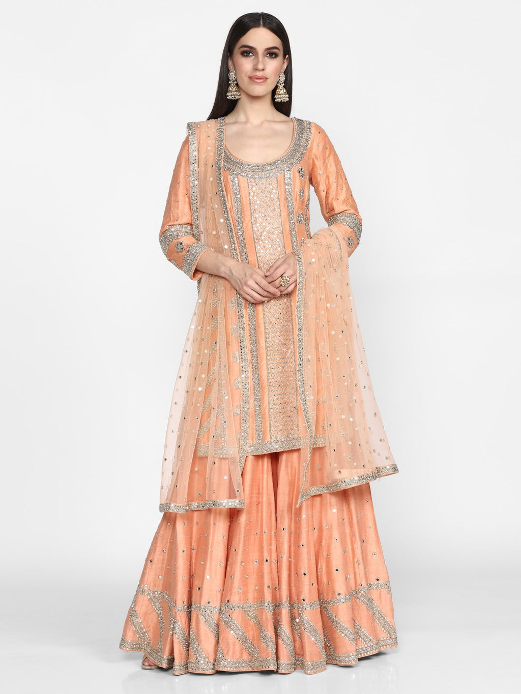 Abhinav Mishra-Peach Hand Embroidered Sharara Set-INDIASPOPUP.COM