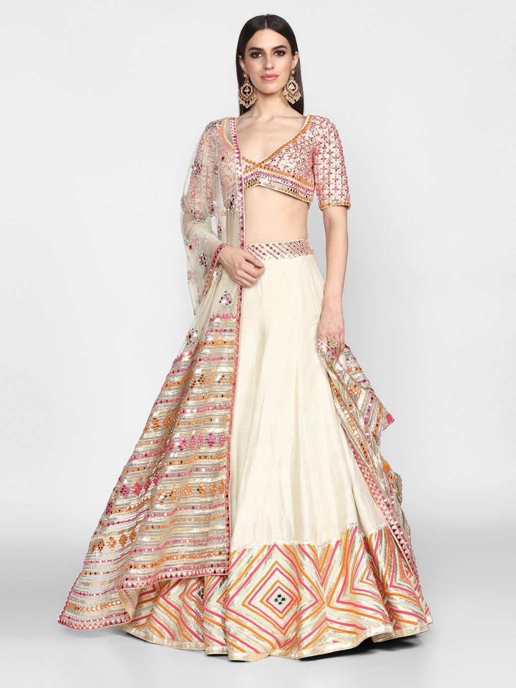 Abhinav Mishra-Powder Blue & Pink Embroidered Lehenga Set-INDIASPOPUP.COM