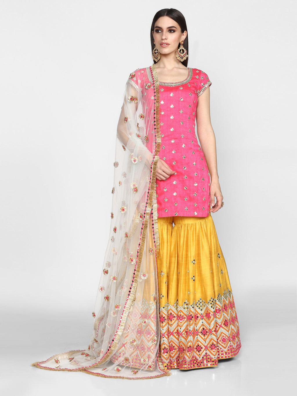 Abhinav Mishra-Pink & Yellow Hand Embroidered Sharara Set-INDIASPOPUP.COM