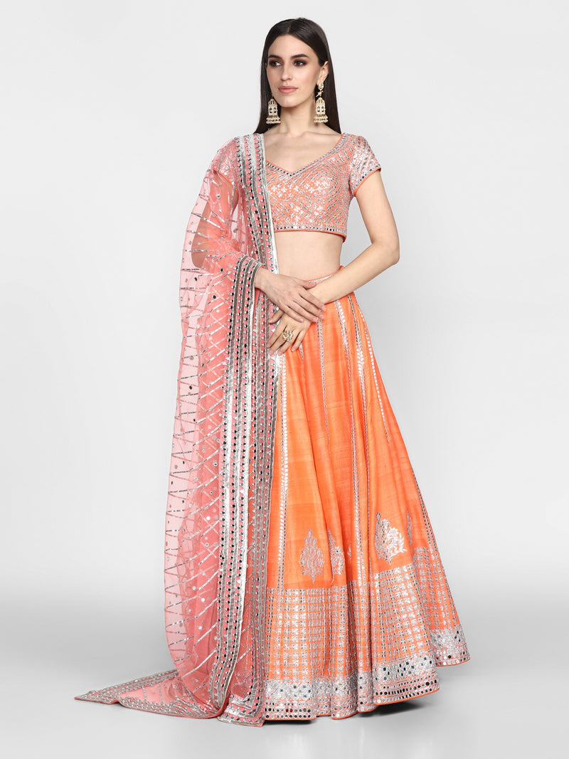 Abhinav Mishra-Orange Embroidered Lehenga Set-INDIASPOPUP.COM