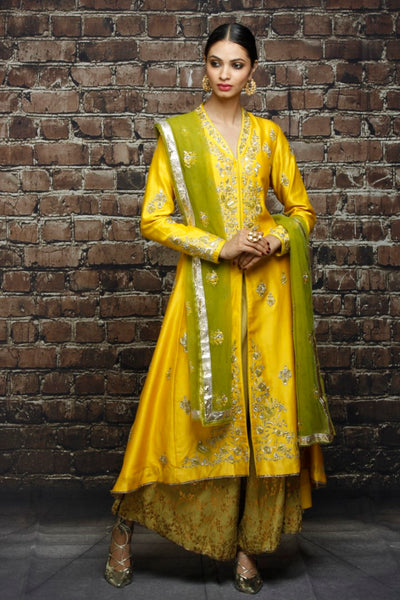 Yellow & Green Kurta Set