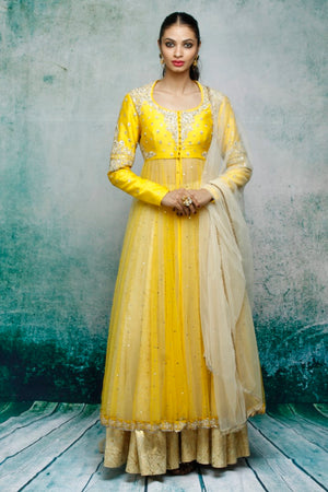 Anju Modi - Golden & Yellow Kurta Set - INDIASPOPUP.COM