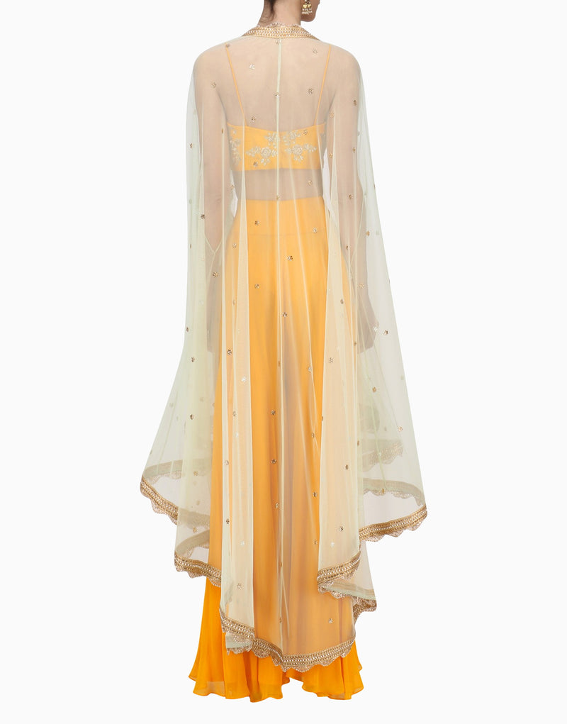 Megha & Jigar - Yello Bustier & Sharara With Cape - INDIASPOPUP.COM