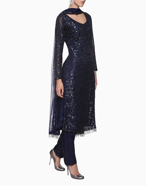 Megha & Jigar - Navy Blue Suit Set With Dupatta - INDIASPOPUP.COM