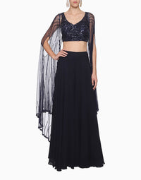 MEGHA & JIGAR NAVY BLUE BUSTIER & SHARARA WITH CAPE