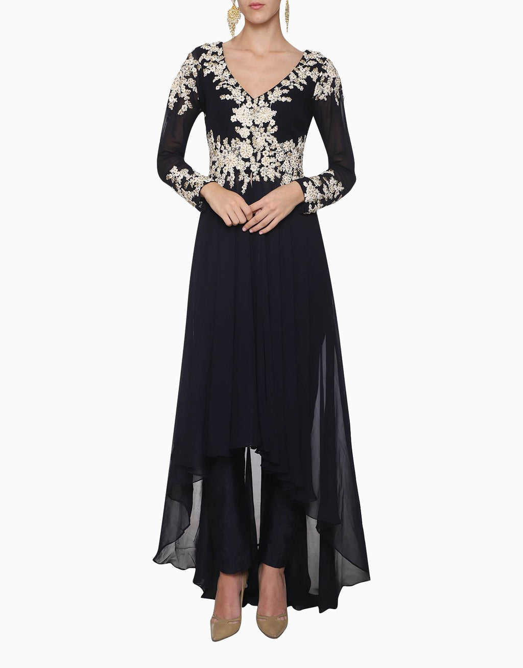 MEGHA & JIGAR NAVY BLUE EMBROIDERED JACKET WITH PANTS