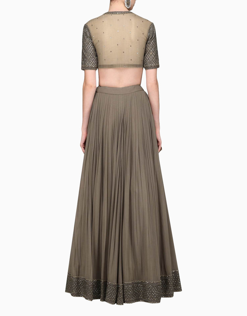 Megha & Jigar - Brown Lehenga Set With Dupatta - INDIASPOPUP.COM