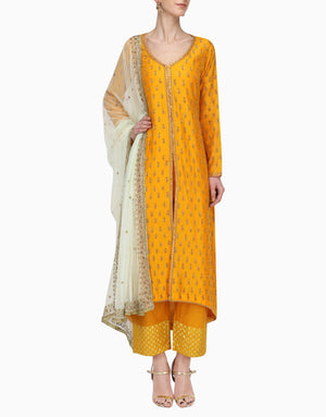 Megha & Jigar - Yellow Kurta Set With Mint Dupatta - INDIASPOPUP.COM