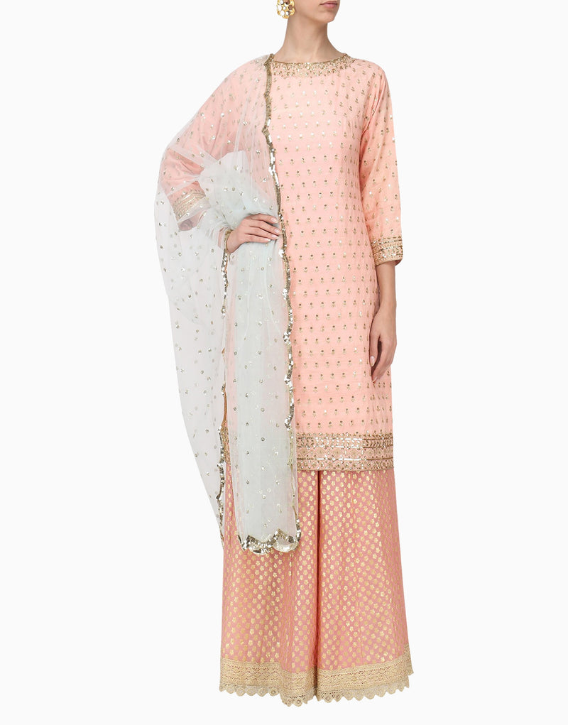 Megha & Jigar - Light Pink Kurta & Pants With Dupatta - INDIASPOPUP.COM