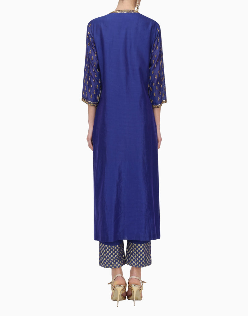 MEGHA & JIGAR ROYAL BLUE KURTA PANTS WITH DUPATTA
