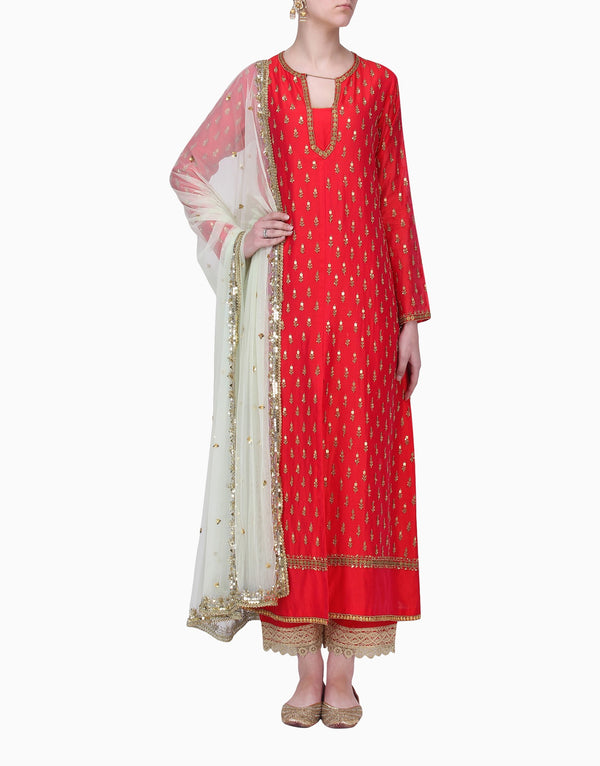 Megha & Jigar - Red Kurta Set With Dupatta - INDIASPOPUP.COM