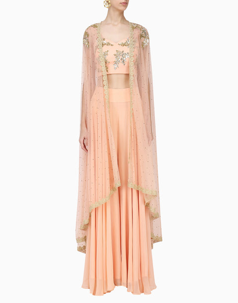 Megha & Jigar - Peach Bustier & Sharara With Cape - INDIASPOPUP.COM