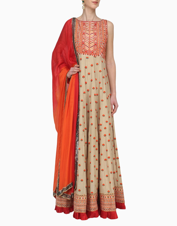 Megha & Jigar - Beige Anarkali Set With Orange Dupatta - INDIASPOPUP.COM