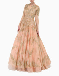 MEGHA & JIGAR PEACH ORGANZA EMBROIDERED GOWN