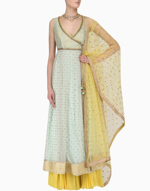 MEGHA & JIGAR MINT ANARKALI WITH YELLOW SHARARA