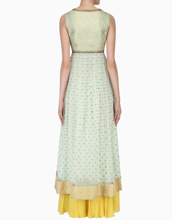 Megha & Jigar - Mint Anarkali With Yellow Sharara - INDIASPOPUP.COM