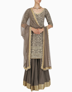 MEGHA & JIGAR BROWN EMBROIDERED SHARARA KURTA