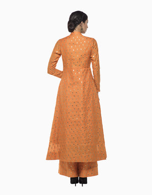 MEGHA & JIGAR ORANGE & BEIGE CHANDERI ANARKALI