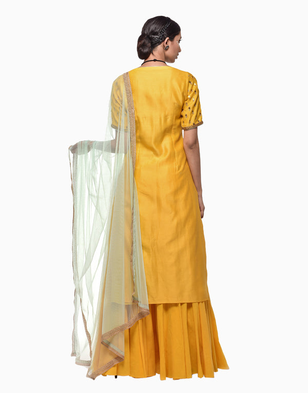 Megha & Jigar - Yellow Chanderi Kurta With Sharara - INDIASPOPUP.COM