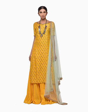 MEGHA & JIGAR YELLOW CHANDERI KURTA WITH SHARARA