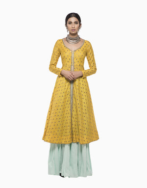 MEGHA & JIGAR YELLOW CHANDERI KURTA WITH AQUA SHARARA