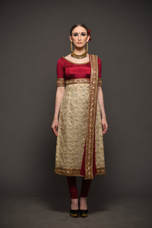 MEGHA & JIGAR WINE & GOLD EMBROIDERED CHURIDAR SUIT