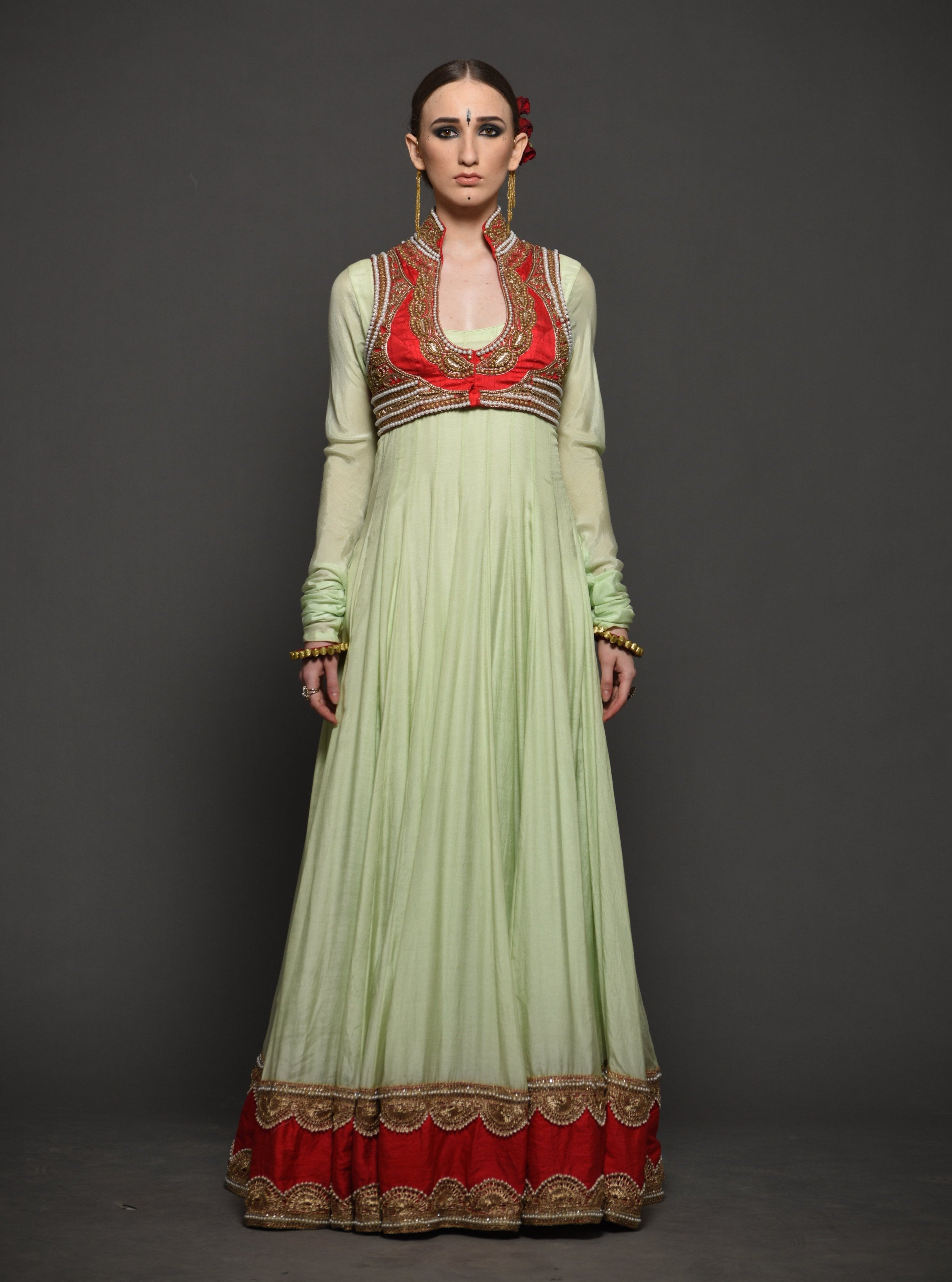 MEGHA & JIGAR MINT ANARKALI WITH CORAL JACKET