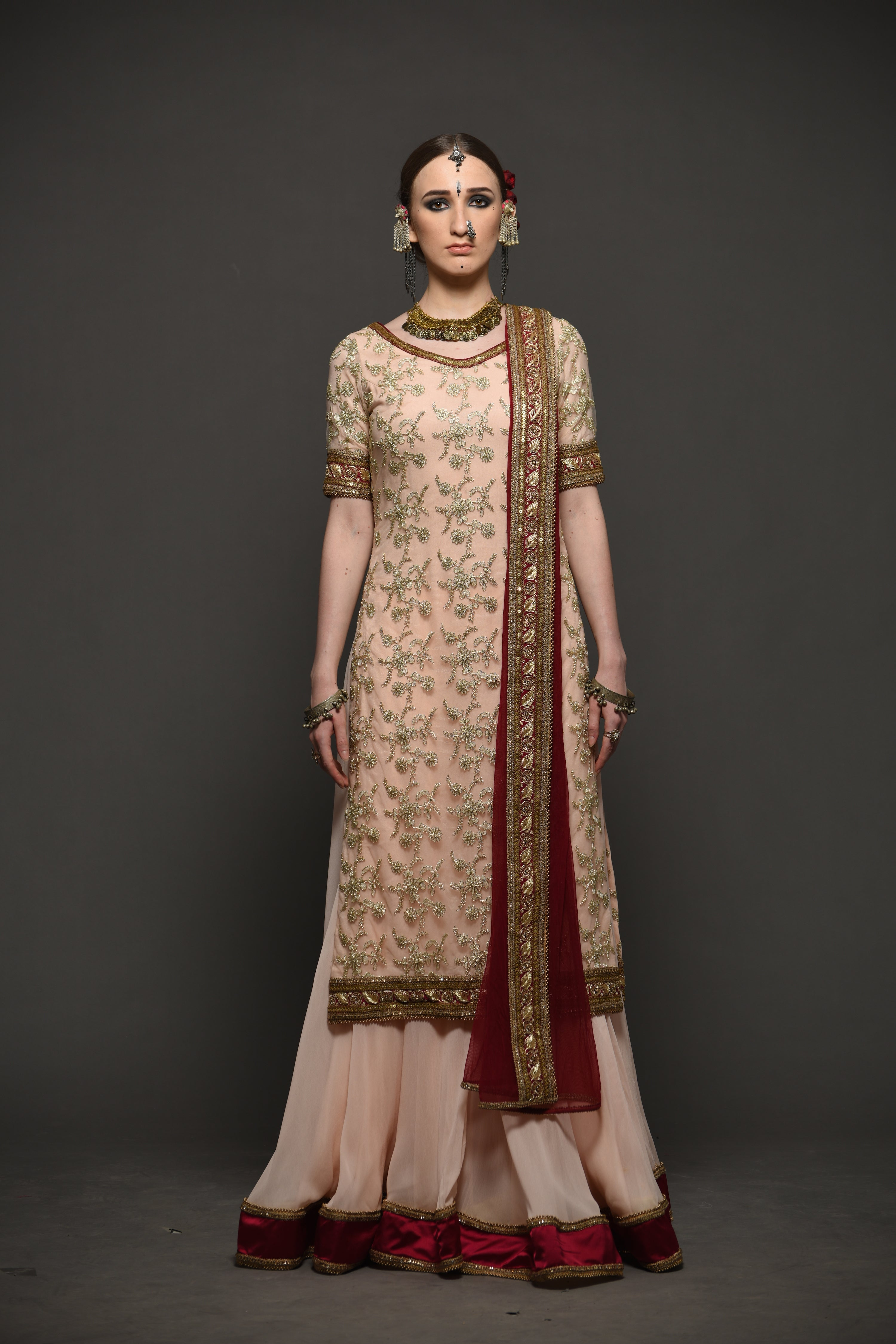 MEGHA & JIGAR PEACH & WINE EMBROIDERED SHARARA SUIT
