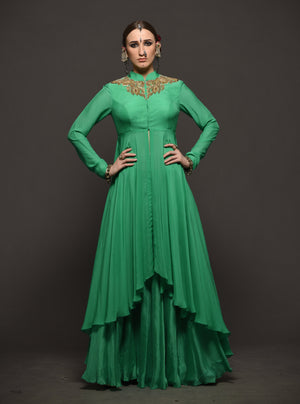 MEGHA & JIGAR GREEN FLOWY JACKET WITH SHARARA
