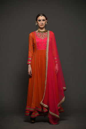 Megha & Jigar - Pink & Orange Double Layered Anarkali - INDIASPOPUP.COM