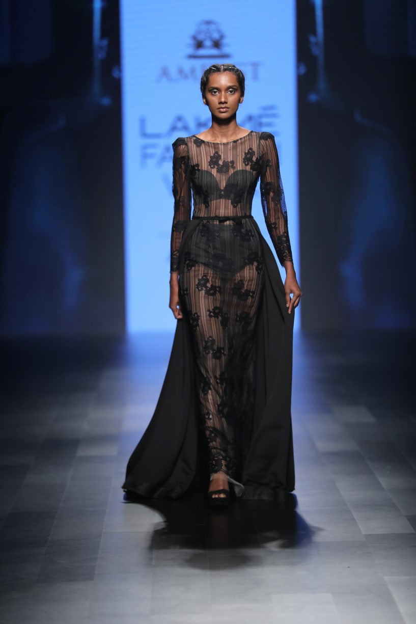AGT By Amit GT - Black Embroidered Pillar Gown - INDIASPOPUP.COM