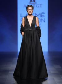 Agt By Amit Gt - Black Ball Gown With Belt - INDIASPOPUP.COM