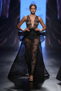 AGT By Amit GT - Black Lace Gown With Peplum - INDIASPOPUP.COM