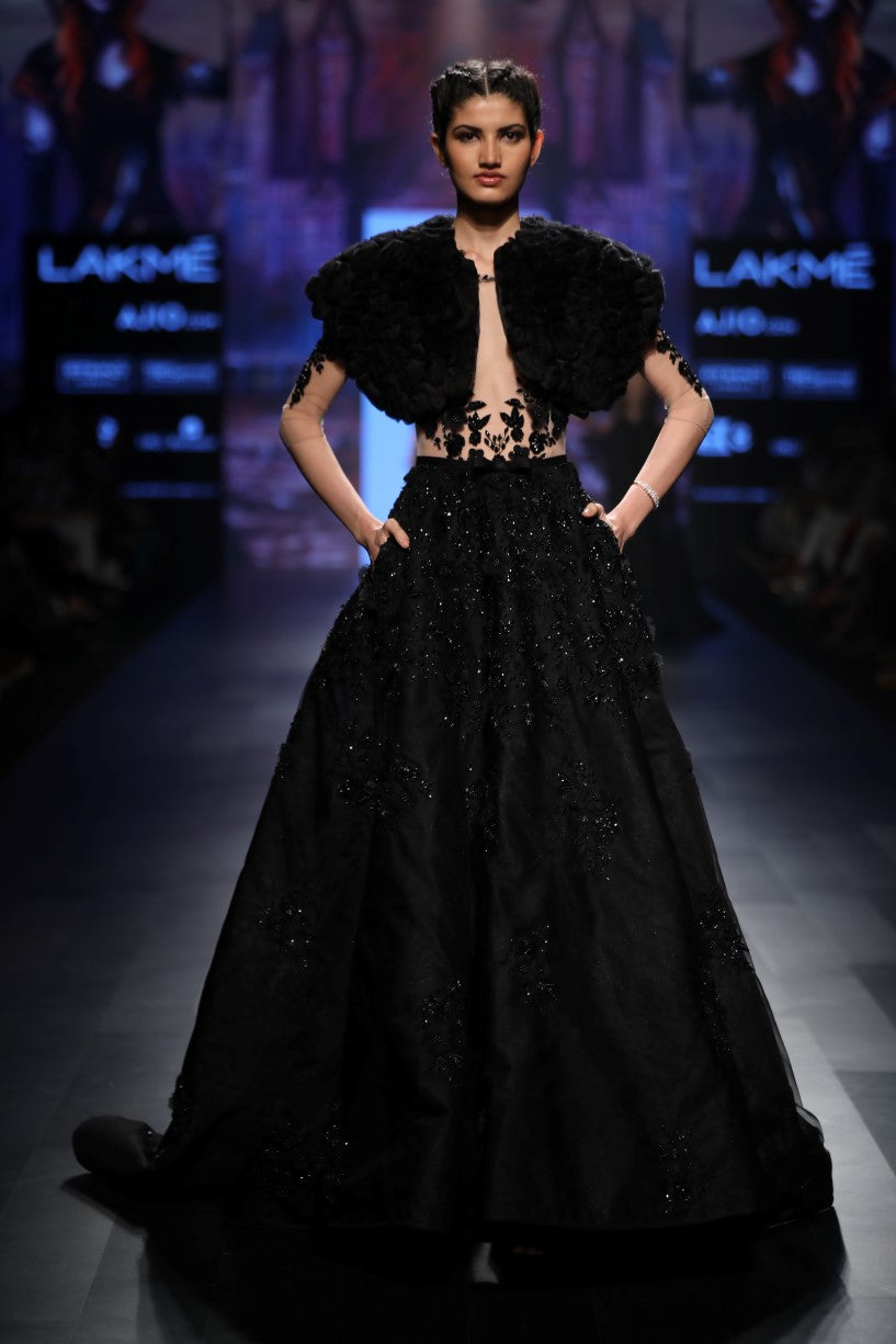 AGT BY AMIT GT BLACK BALL GOWN WITH FEATHERS